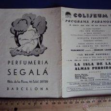 Cine: (PG-1221)PROGRAMA DE CINE,LA ISLA DE LAS ALMAS PERDIDAS,DOBLE. Lote 53192903