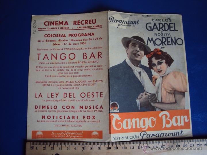 (PG-1220)PROGRAMA DE CINE,TANGO BAR,CARLOS GARDEL,DOBLE (Cine - Folletos de Mano - Musicales)