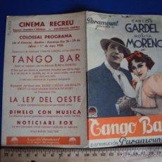 Cine: (PG-1220)PROGRAMA DE CINE,TANGO BAR,CARLOS GARDEL,DOBLE. Lote 53192911