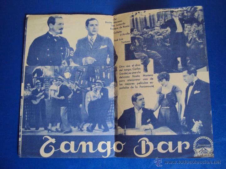 Cine: (PG-1220)PROGRAMA DE CINE,TANGO BAR,CARLOS GARDEL,DOBLE - Foto 2 - 53192911