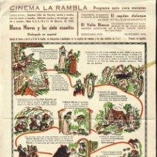 Cine: PROGRAMA BLANCA NIEVES Y LOS SIETE ENANITOS. 1942. 21 X 31 CMS. . Lote 53203310