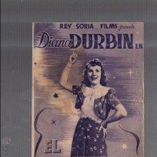 Cine: PROGRAMA DE CINE DOBLE. S/P. EL PRIMER AMOR. DIANA DURBIN. COLOR MORADO. Lote 53214848