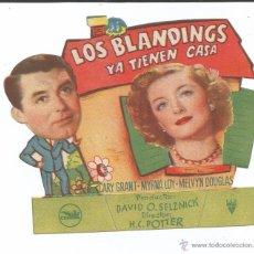 Cine: LOS BLANDINGS YA TIENEN CASA - CARY GRANT - TROQUELADO - PUBLICIDAD TEATRO CALDERÓN (ALCOY). Lote 53235530