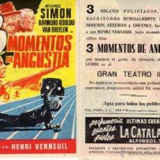 Cine: FOLLETO DE MANO 3 MOMENTOS DE ANGUSTIA . TEATRO IRIS ZARAGOZA. Lote 53250456