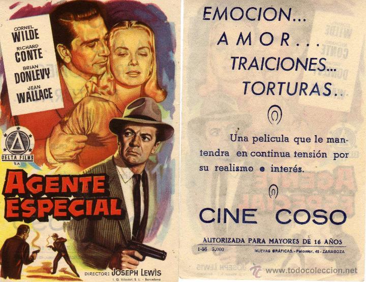 FOLLETO DE MANO AGENTE ESPECIAL. CINE COSO ZARAGOZA (Cine - Folletos de Mano - Acción)
