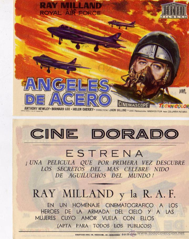 FOLLETO DE MANO ANGELES DE ACERO. CINE DORADO ZARAGOZA (Cine - Folletos de Mano - Bélicas)