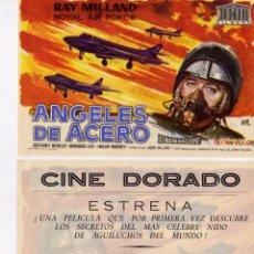 Cine: FOLLETO DE MANO ANGELES DE ACERO. CINE DORADO ZARAGOZA. Lote 53251003