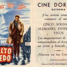 Cine: FOLLETO DE MANO ASFALTO HUMEDO. CINE DORADO ZARAGOZA. Lote 53251657