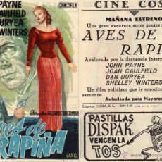 Cine: FOLLETO DE MANO AVES DE RAPIÑA . CINE COSO ZARAGOZA. Lote 129473438