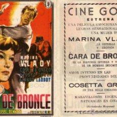 Cine: FOLLETO DE MANO CARA DE BRONCE . CINE GOYA ZARAGOZA. Lote 152982042