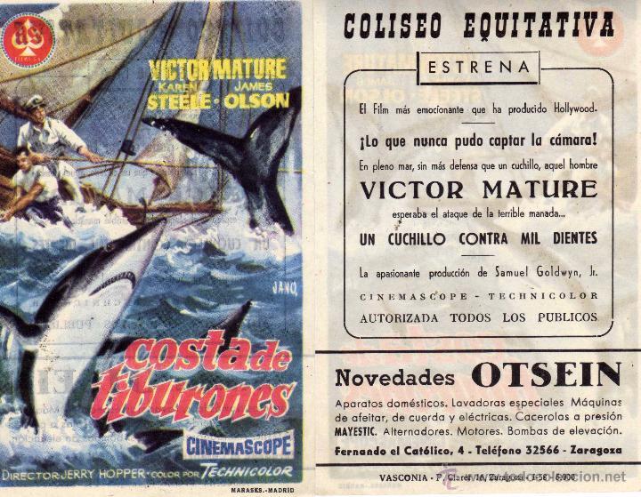 FOLLETO DE MANO COSTA DE TIBURONES. COLISEO EQUITATIVA ZARAGOZA (Cine - Folletos de Mano - Aventura)