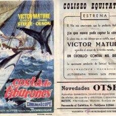 Cine: FOLLETO DE MANO COSTA DE TIBURONES. COLISEO EQUITATIVA ZARAGOZA. Lote 56395511