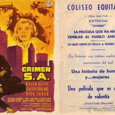 Cine: FOLLETO DE MANO CRIMEN S.A. COLISEO EQUITATIVA ZARAGOZA. Lote 53259033