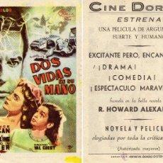 Cine: FOLLETO DE MANO DOS VIDAS EN SU MANO. CINE DORADO ZARAGOZA. Lote 55890718