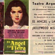 Cine: FOLLETO DE MANO EL ANGEL Y LA FIERA . TEATRO ARGENSOLA ZARAGOZA. Lote 53299947