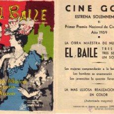 Cine: FOLLETO DE MANO EL BAILE . CINE GOYA ZARAGOZA. Lote 72072059