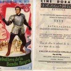 Flyers Publicitaires de films Anciens: FOLLETO DE MANO EL CABALLERO DE LA BANDA NEGRA. CINE DORADO ZARAGOZA. Lote 53300152