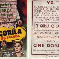 Cine: FOLLETO DE MANO EL GORILA OS SALUDA. CINE DORADO ZARAGOZA. Lote 53300324