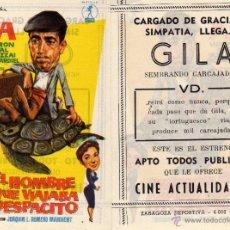 Cine: FOLLETO DE MANO EL HOMBRE QUE VIAJABA DESPACITO . CINE ACTUALIDADES ZARAGOZA. Lote 80002131