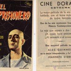 Cine: FOLLETO DE MANO EL PRISIONERO. CINE DORADO ZARAGOZA. Lote 199874022