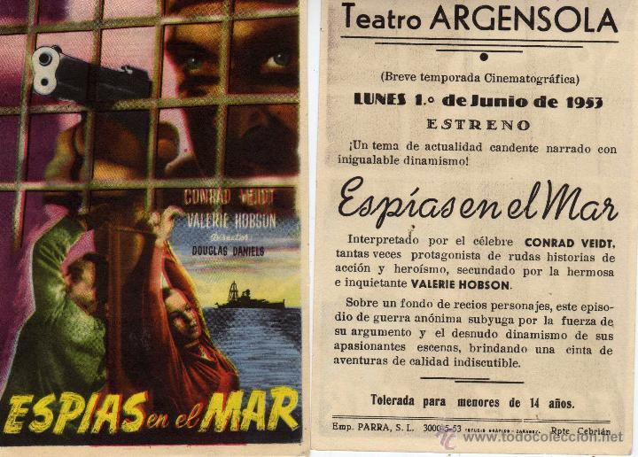 FOLLETO DE MANO ESPIAS EN EL MAR .TEATRO ARGENSOLA ZARAGOZA (Cine - Folletos de Mano - Aventura)