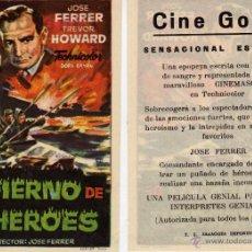 Cine: FOLLETO DE MANO INFIERNO DE LOS HÉROES . CINE GOYA ZARAGOZA. Lote 214004286