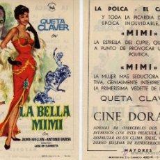 Cine: FOLLETO DE MANO LA BELLA MIMI. CINE DORADO ZARAGOZA. Lote 102474751