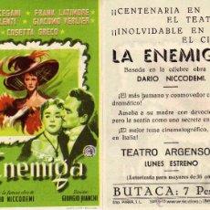 Cine: FOLLETO DE MANO LA ENEMIGA . TEATRO ARGENSOLA ZARAGOZA. Lote 55890619