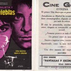 Cine: FOLLETO DE MANO ROMEO Y JULIETA Y LAS TINIEBLAS . CINE GOYA ZARAGOZA. Lote 116448334