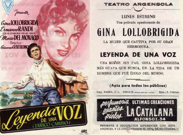 FOLLETO DE MANO LEYENDA DE UNA VOZ . TEATRO ARGENSOLA ZARAGOZA (Cine - Folletos de Mano - Musicales)