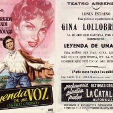 Cine: FOLLETO DE MANO LEYENDA DE UNA VOZ . TEATRO ARGENSOLA ZARAGOZA. Lote 53307079