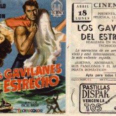 Folhetos de mão de filmes antigos de cinema: FOLLETO DE MANO LOS GAVILANES DEL ESTRECHO. CINE GOYA ZARAGOZA. Lote 268439919