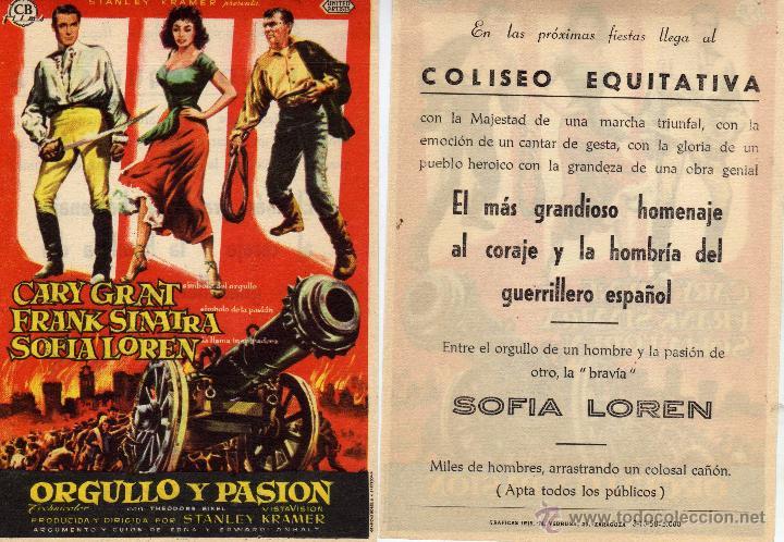 FOLLETO DE MANO ORGULLO Y PASIÓN . COLISEO EQUITATIVA ZARAGOZA (Cine - Folletos de Mano - Aventura)