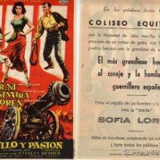 Cine: FOLLETO DE MANO ORGULLO Y PASIÓN . COLISEO EQUITATIVA ZARAGOZA. Lote 178681500