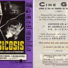 Cine: FOLLETO DE MANO PSICOSIS.DE ALFRED HITCHCOCK CINE GOYA ZARAGOZA. Lote 171358840