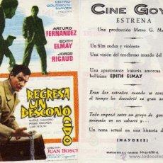 Cine: FOLLETO DE MANO REGRESA UN DESCONOCIDO . CINE GOYA ZARAGOZA. Lote 71412334
