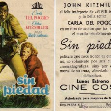 Cine: FOLLETO DE MANO SIN PIEDAD . CINE COSO ZARAGOZA. Lote 53313209