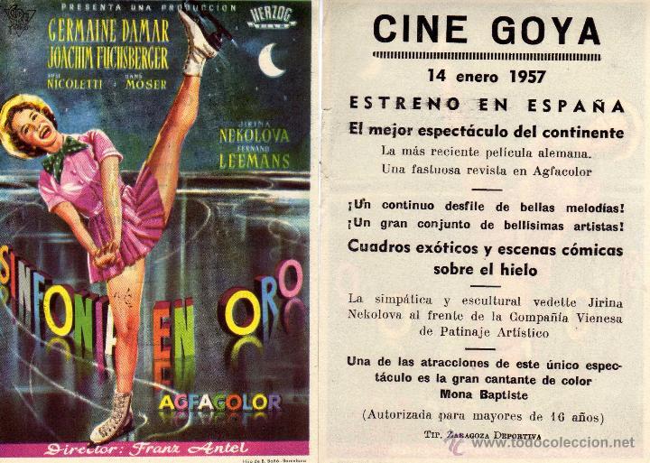 FOLLETO DE MANO SINFONIA EN ORO . CINE GOYA ZARAGOZA (Cine - Folletos de Mano - Musicales)