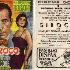 Cine: FOLLETO DE MANO SIROCO . CINE GOYA ZARAGOZA. Lote 56305116