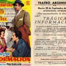 Cine: FOLLETO DE MANO TRÁGICA INFORMACION . TEATRO ARGENSOLA ZARAGOZA. Lote 53314037