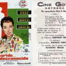 Cine: FOLLETO DE MANO TU MARIDO... ESE DESCONOCIDO . CINE GOYA ZARAGOZA. Lote 54121964