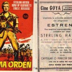 Cine: FOLLETO DE MANO ULTIMA ORDEN . CINE GOYA ZARAGOZA. Lote 183866128