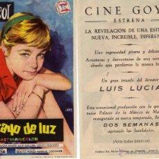 Cine: FOLLETO DE MANO UN RAYO DE LUZ . CON MARISOL CINE GOYA ZARAGOZA. Lote 54734418