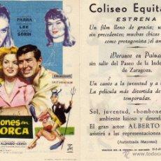 Cine: FOLLETO DE MANO VACACIONES EN MALLORCA . COLISEO EQUITATIVA ZARAGOZA. Lote 53316877