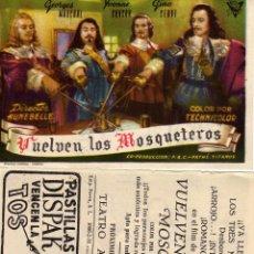 Cine: FOLLETO DE MANO VUELVEN LOS MOSQUETEROS . TEATRO ARGENSOLA ZARAGOZA. Lote 131461314