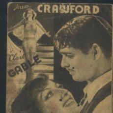 Cine: ALMA DE BAILARINA - JOAN CRAWFORD, CLARK GABLE - PROGRAMA CON PUBLICIDAD. Lote 53325457