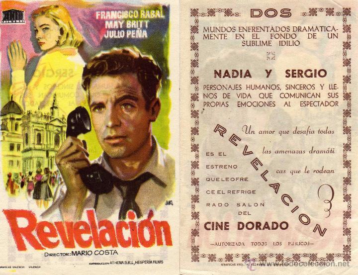 FOLLETO DE MANO REVELACION. CINE DORADO ZARAGOZA CON PACO RABAL, J. PEÑA Y MAY BRITT (Cine - Folletos de Mano - Clásico Español)