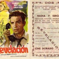 Cine: FOLLETO DE MANO REVELACION. CINE DORADO ZARAGOZA CON PACO RABAL, J. PEÑA Y MAY BRITT. Lote 69845081