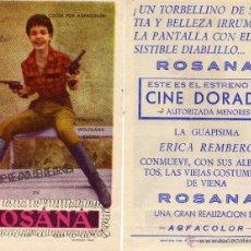 Cine: FOLLETO DE MANO ROSANA. CINE DORADO ZARAGOZA. Lote 53329530