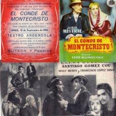 Cine: FOLLETO DE MANO DOBLE EL CONDE DE MONTECRISTO. CIFESA TEATRO ARGENSOLA ZARAGOZA. Lote 97318438
